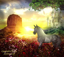 Horse enjoy Sunset by JassysART