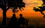 Together sitting by Sunset by JassysART