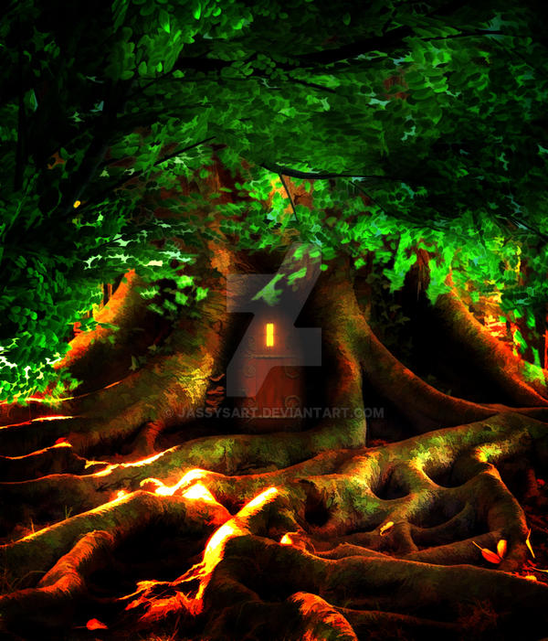 Premium Premade BG Tree House Fantasy 282 by Jassy2012