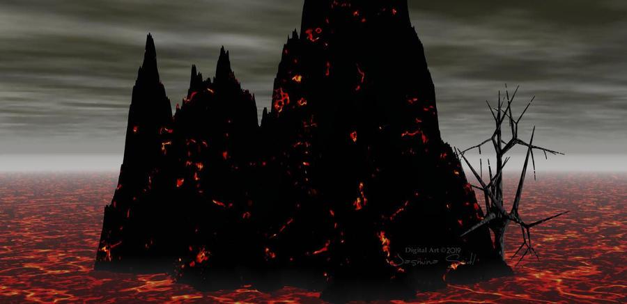 Dark Volcano Scape by JassysART