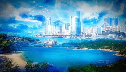 Blue Shining City by JassysART