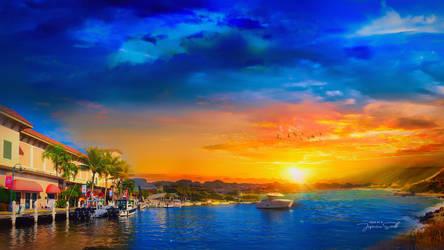 Sunset into blue