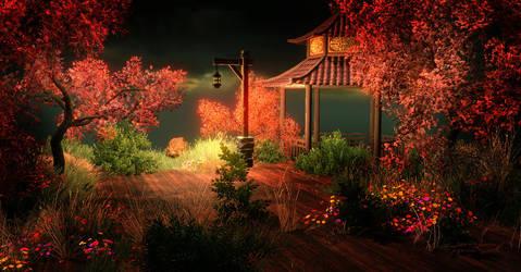 Japanece Garden by Night