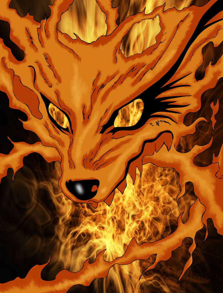 Naruto 9Tails DemonFox Colored by dj-vegan