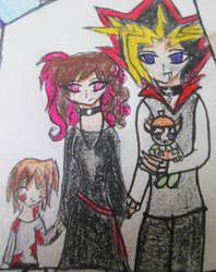 Atem and Jessie, with Jaden and Yusei by AtemswildRose