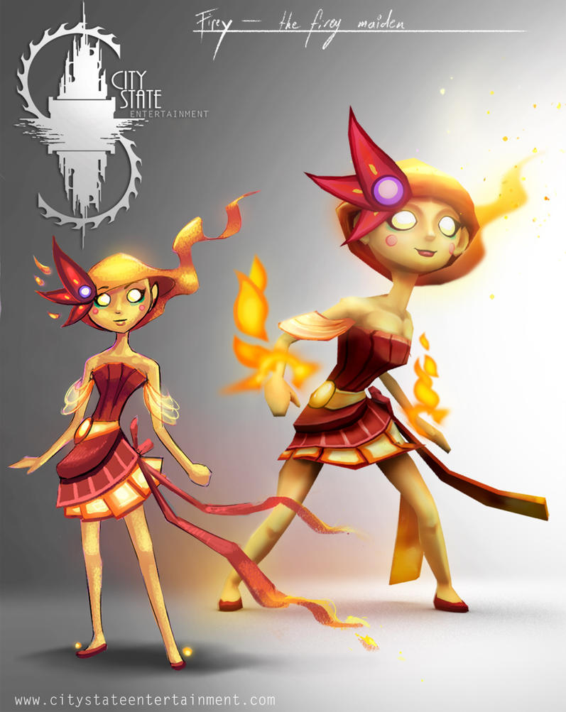 Fire Girl Unit art + model render by CityState