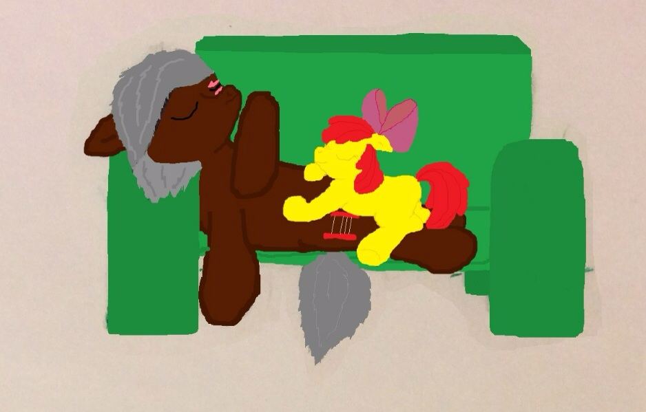 Abacus and Apple Bloom Sleeping Together by RandomeLight