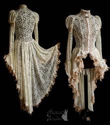 cardigan art nouveau victorian ivory lace romantic by SomniaRomantica