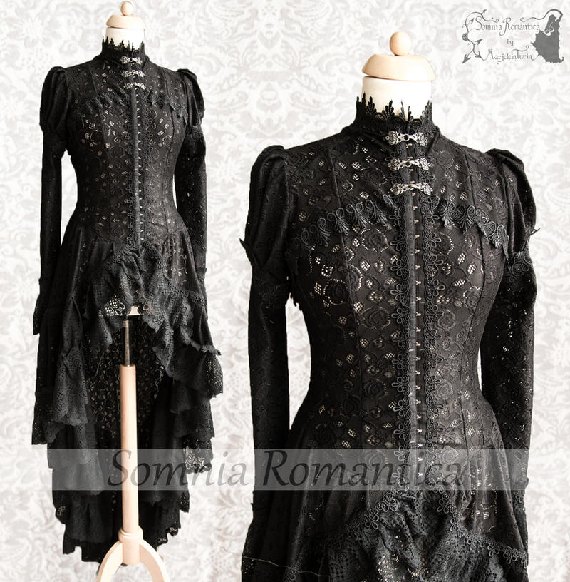 cardigan victorian steampunk gothic black lace by SomniaRomantica