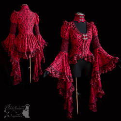 Red blouse, victorian, art nouveau, goth, vampire by SomniaRomantica