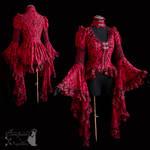 Red blouse, victorian, art nouveau, goth, vampire