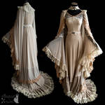 gown and cloak, dreamy, art nouveau, ghostly