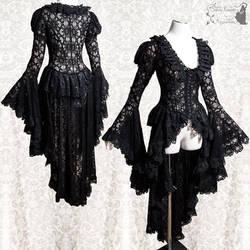 black lace robe waistcoat goth gothic victorian II by SomniaRomantica