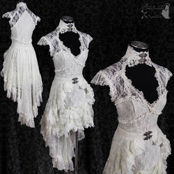 wedding dress victorian art nouveau lace goth by SomniaRomantica