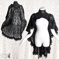 Black lace capelet goth gothic victorian lace yey