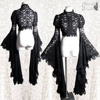 Black lace shrug goth gothic with ginormous sleeve