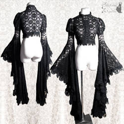 Black lace shrug goth gothic with ginormous sleeve by SomniaRomantica