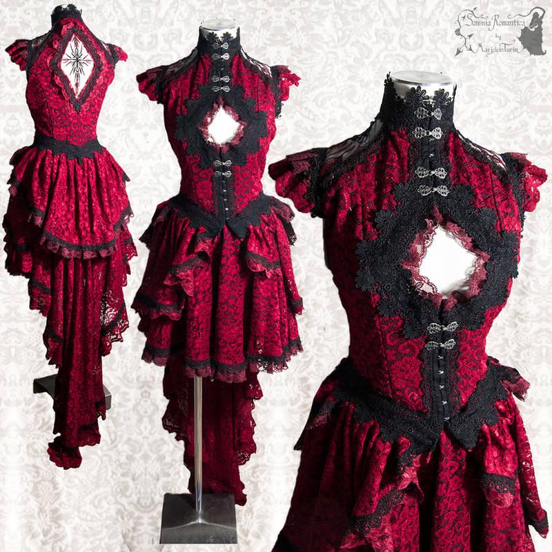 Red gown victorian goth gothic burlesque by SomniaRomantica
