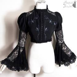 Goth Victorian bolero jacket with grey embroidery by SomniaRomantica