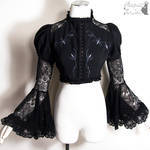 Goth Victorian bolero jacket with grey embroidery
