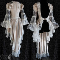Art Nouveau inspired robe with vintage French lace