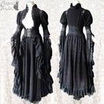 Elven Somnia Romantica S-M Waistcoat lace robe size S-M Art Nouveau taupe Victorian Cottage chic