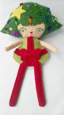 Natalie Wreath wool felt Christmas doll