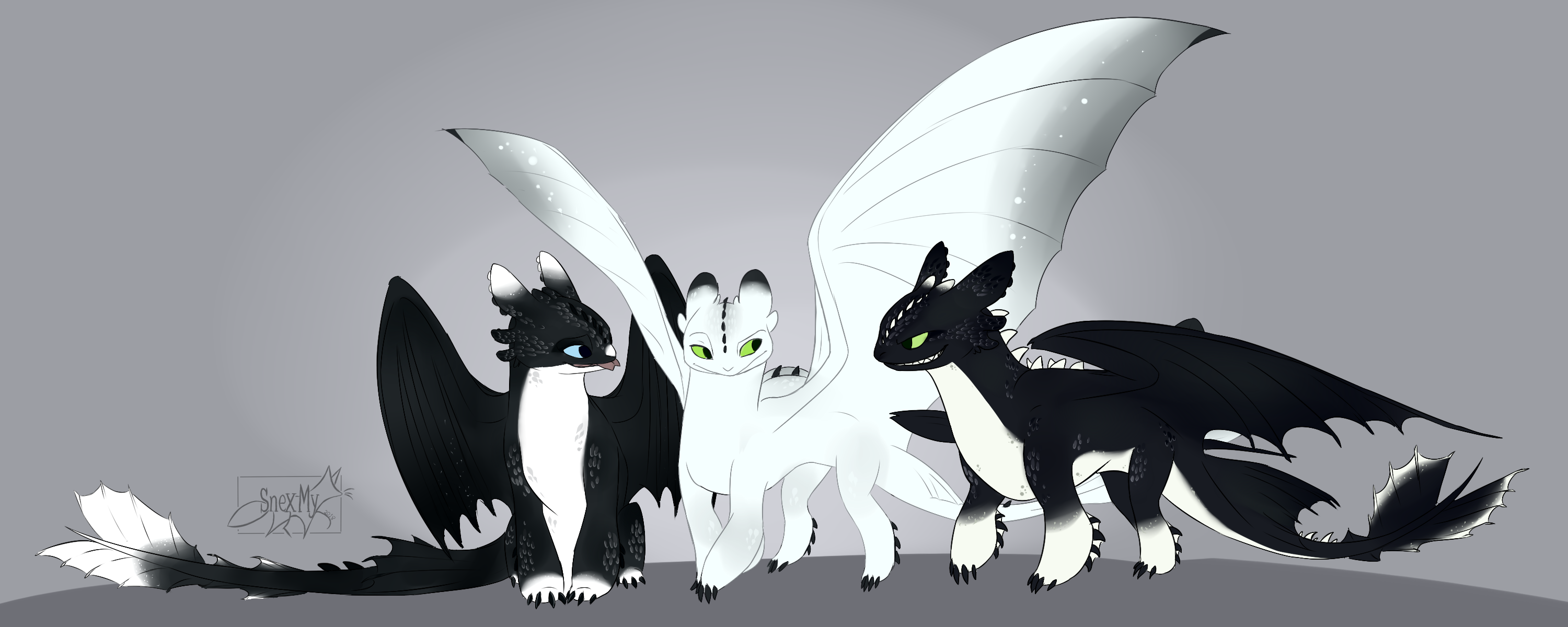 Night Lights Children of Toothless Adults - Httyd by SnexMy