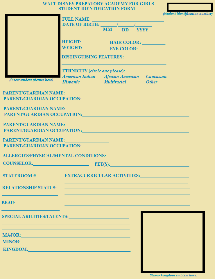 Disney Prep for Girls Student Form Template by – Student Application Form Template