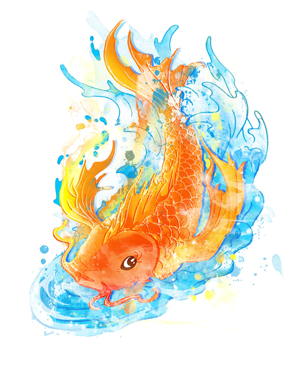 Koi fish water color tattoo by temptingtradgedy on deviantart for Colourful koi fish
