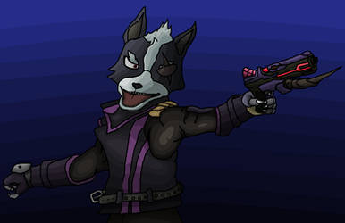 Wolf with his gun. by valkiriforce