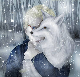 + White Foxes + by wolfandelm