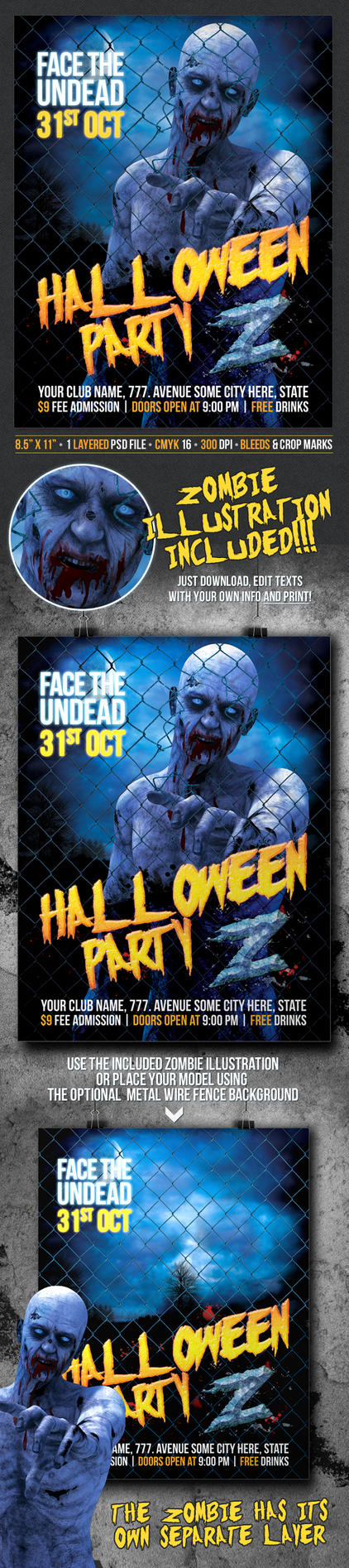 Halloween Party Z Poster / Flyer design template by Doppelgangers