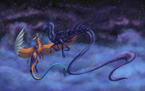 Flying under the moon by Dregenre