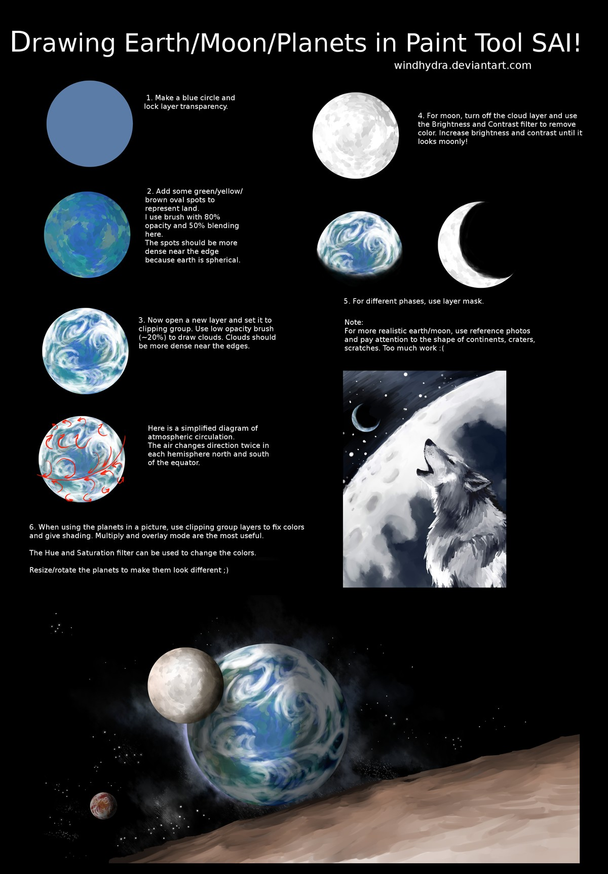 Drawing Earth Moon Planet In Paint Tool Sai! By Windhydra