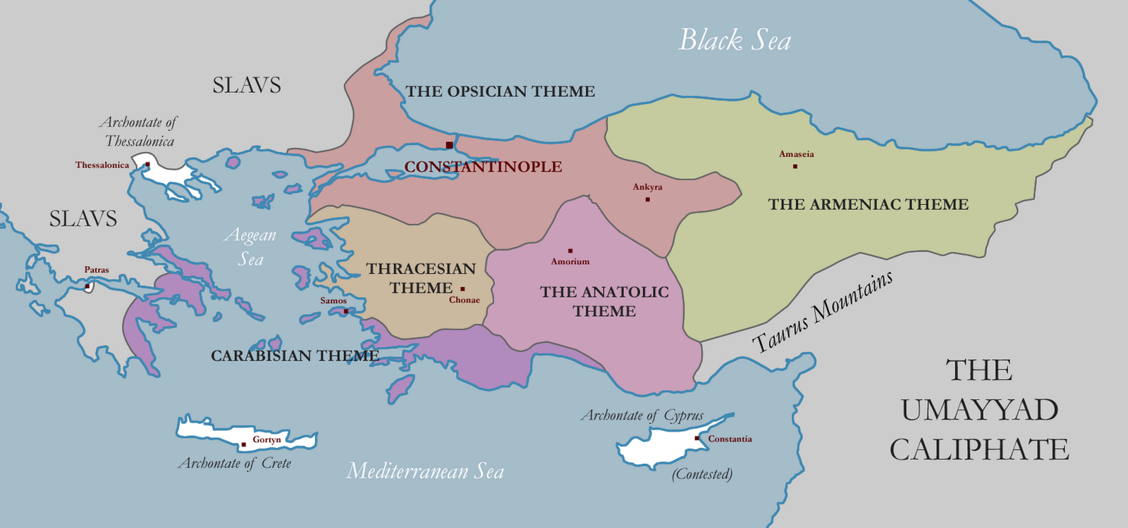 Themes of the Byzantine Empire in the 7th Century by eaxelandersson