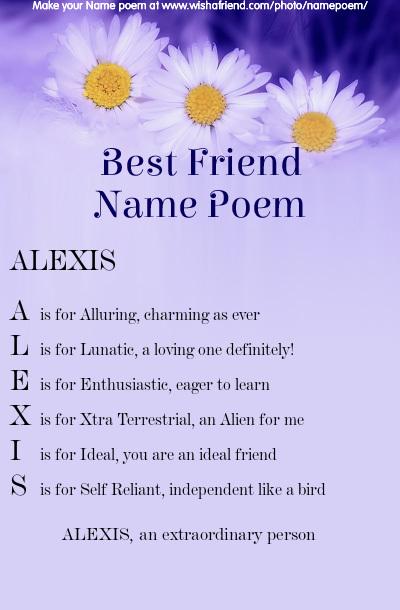 41++ Alexis name poem ideas in 2021