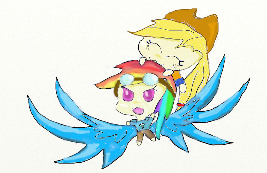 Rainbow Dash and Applejack as Human Chibis by Silver-Storm ...