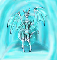 Ice Dragon Anthro for SpazMutt by Silver-Storm-Dragon