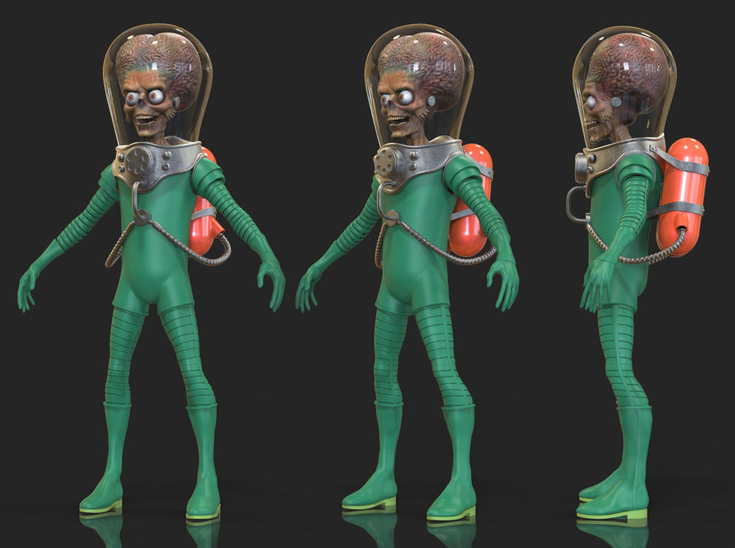 More Mars Attack Alien 3D Progress by FoxHound1984