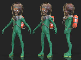 More Mars Attack Alien 3D Progress