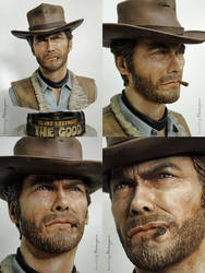 Clint Eastwood/Man with No Name - 3D Printed Bust by FoxHound1984