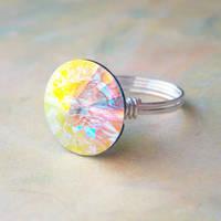 Crystal AB Rivoli Ring by lulabug