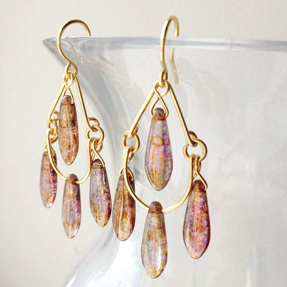 Gold Topaz Luster Chandelier Earrings by lulabug