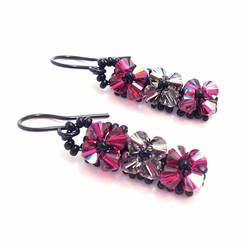 Cranberry and Gray Swarovski Crystal Woven Earring by lulabug