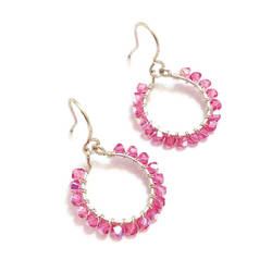 Pink Swarovski Crystal Loop Earrings by lulabug