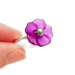 Purple Lucite Flower Ring by lulabug