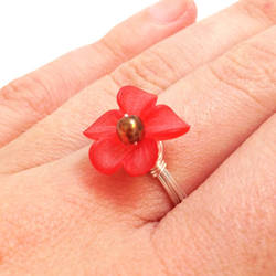 Red Orange Orchid Ring by lulabug