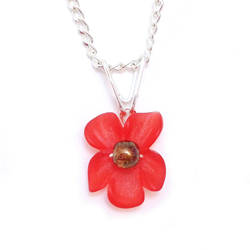 Red Orange Orchid Pendant Necklace by lulabug