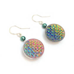 Round Iridescent Button Earrings